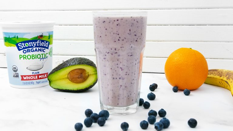 This smoothie is made with healthy fruits, avocado fats and probiotics.
