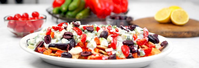 Our Greek nachos are perfect for lunch, dinner, a snack, or a party.