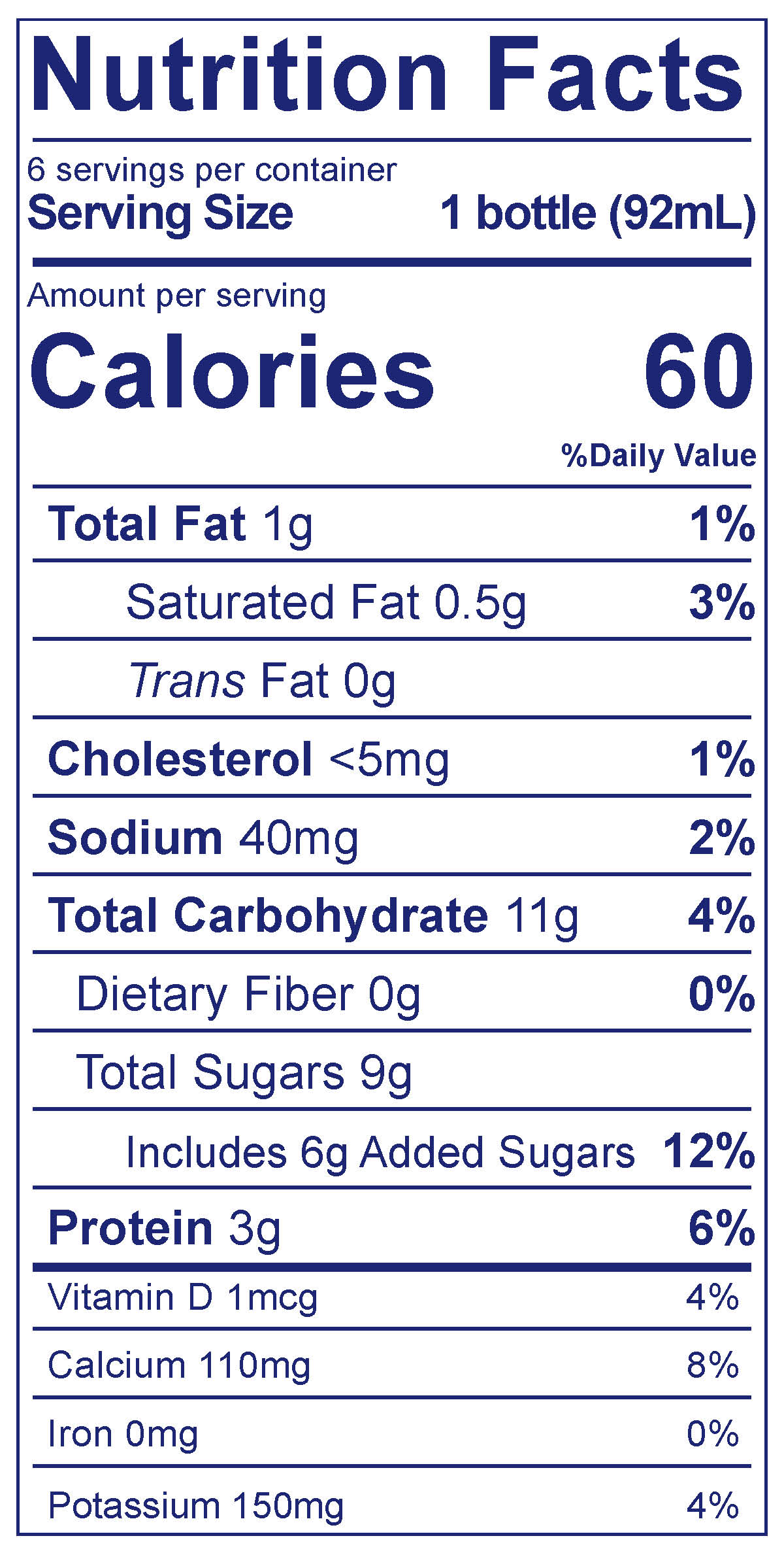 Blueberry Pomegranate Daily Probiotics Drink - Nutrition Facts