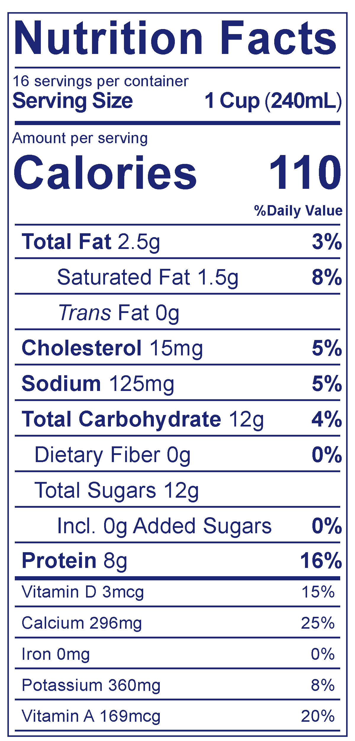 Low Fat 1% Milk - Nutrition Facts