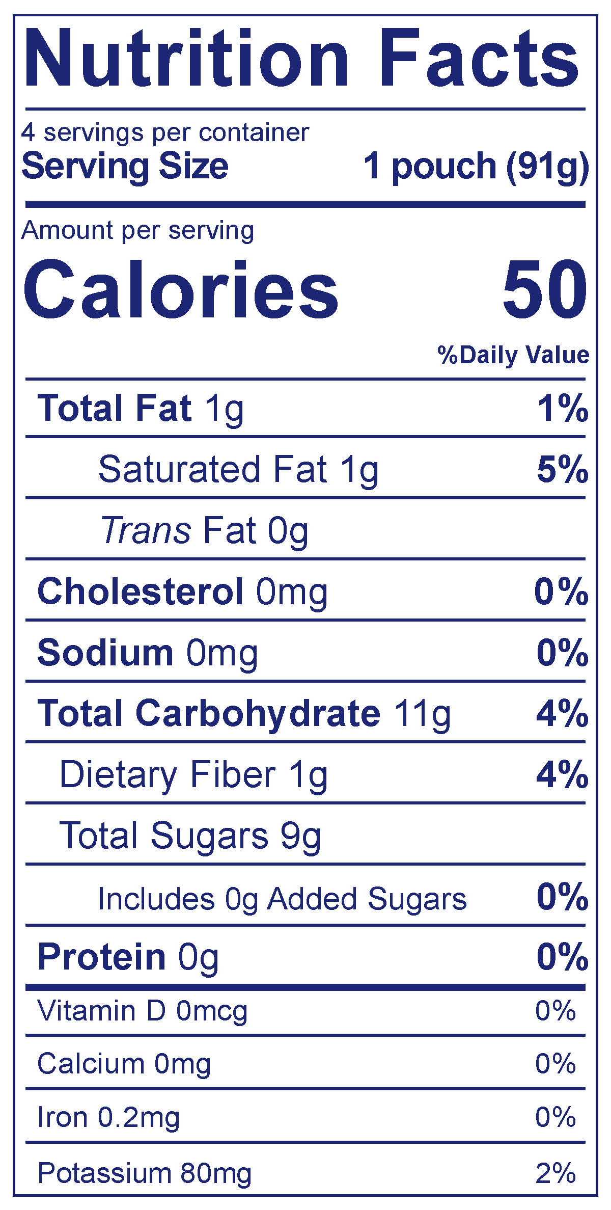 Fruit & Veggie Pouch Berry Cherry Blast Smoothie - Nutrition Facts