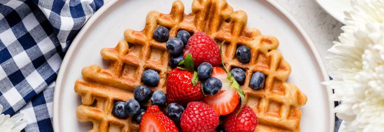 Delicious blender waffles made with yogurt in the batter.
