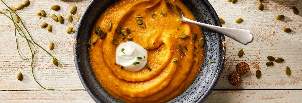 Creamy pumpkin ginger soup is the perfect cozy, fall soup.