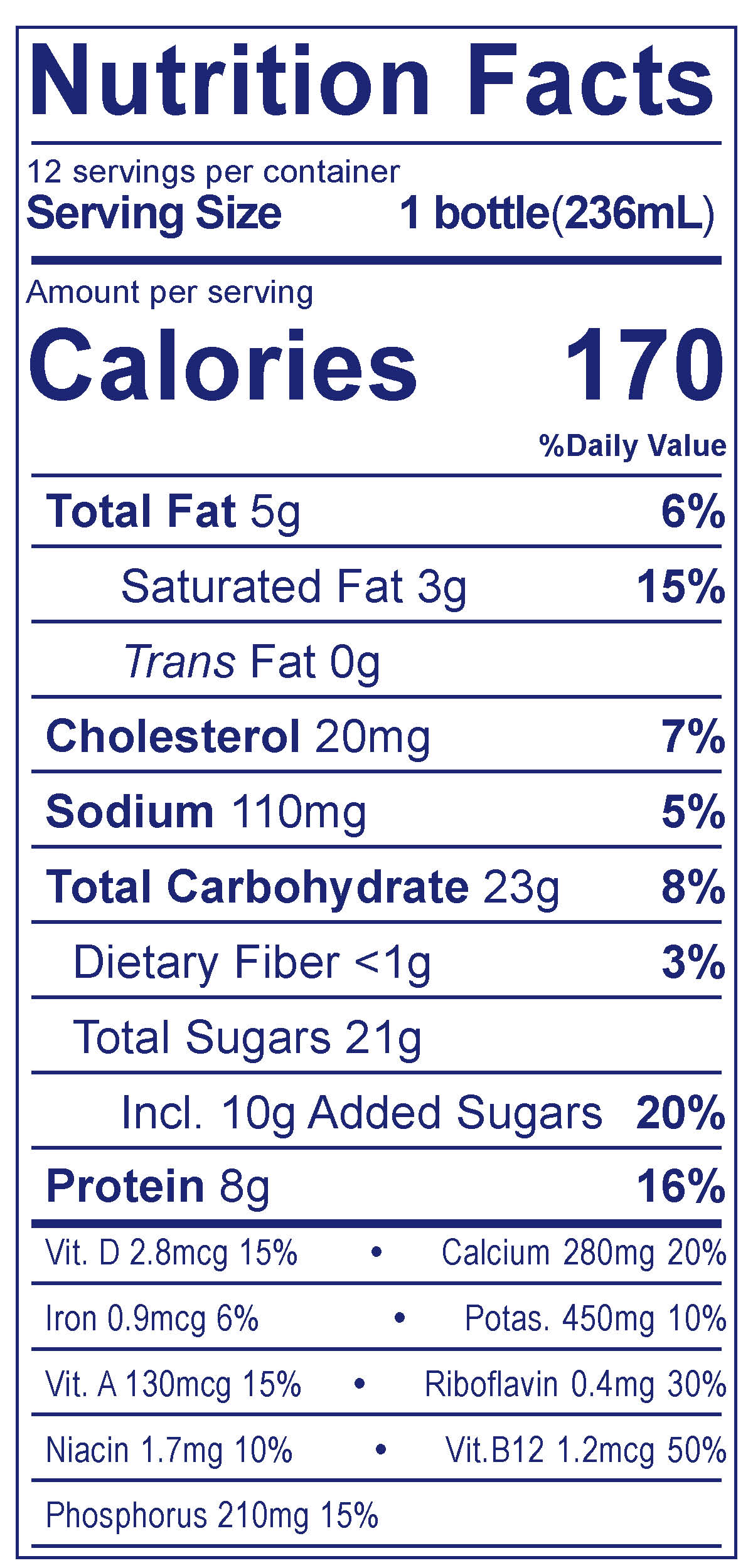 Chocolate 2% Reduced Fat Milk - Nutrition Facts