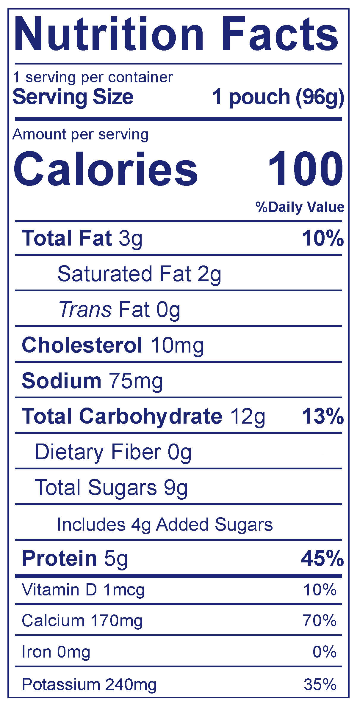 Yobaby Pouch Banana & Oat - Nutrition Facts