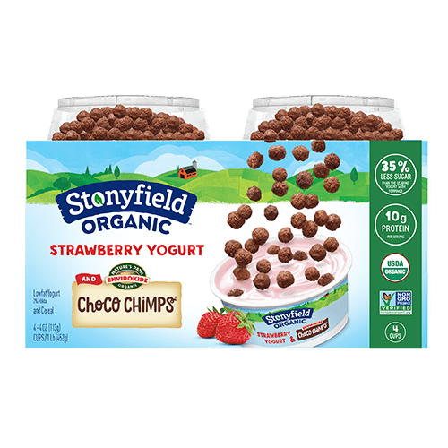 Kids Low Fat Strawberry Yogurt and Choco Chimp Cereal