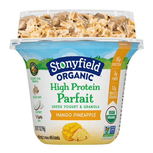 High Protein Parfait Mango Pineapple