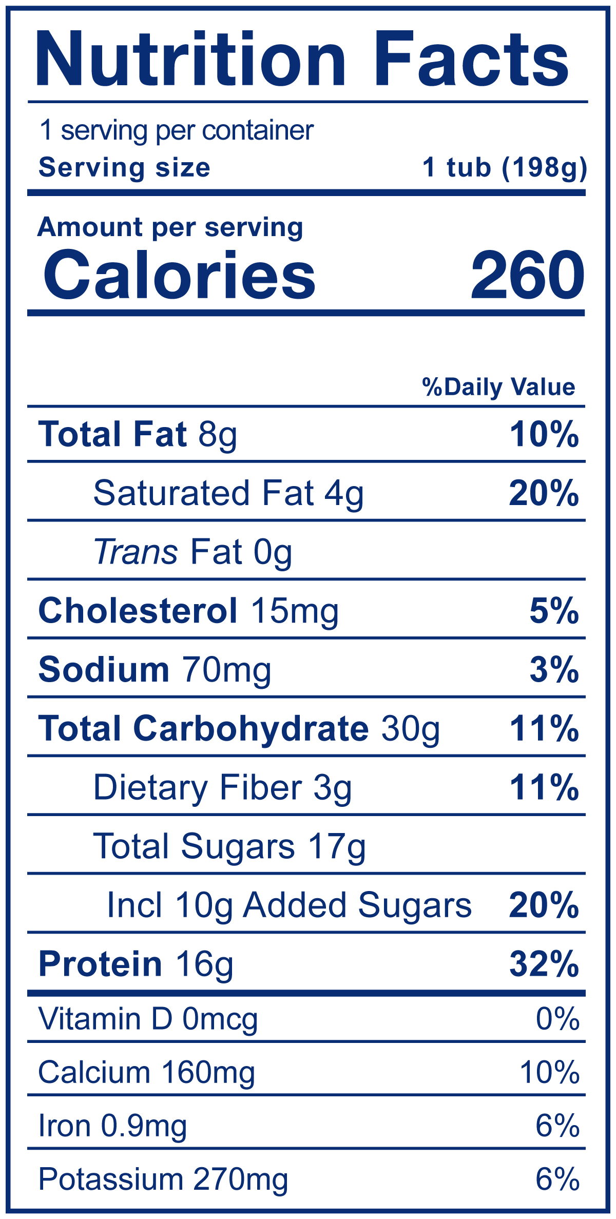 High Protein Parfait Mango Pineapple - Nutrition Facts