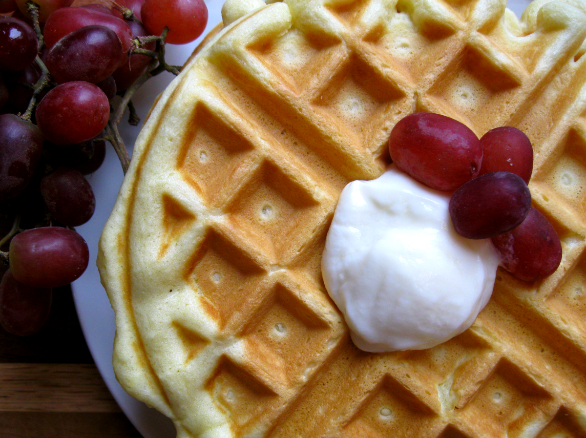 Homemade Waffles with Grapes