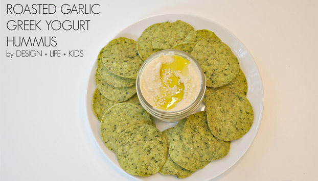Roasted Garlic Hummus with Greek Yogurt