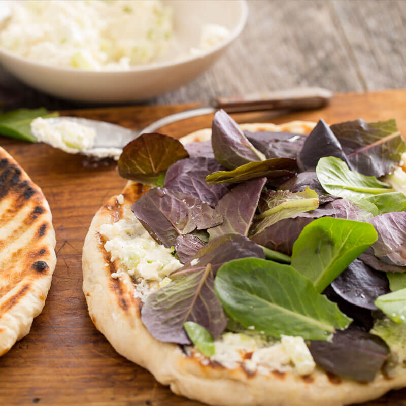 Grilled Flatbread with Spicy Whipped Feta & Cucumber Spread | Stonyfield