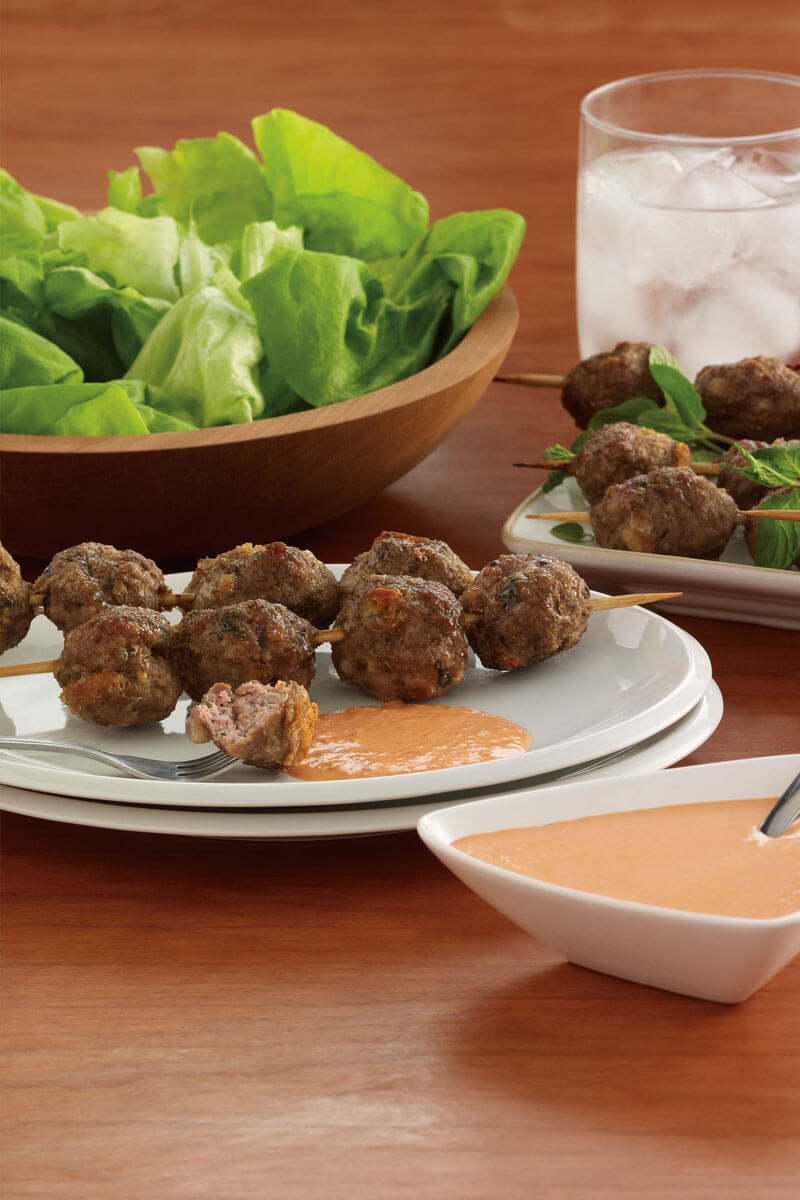 Lamb Meatballs with Red Pepper Aioli | Stonyfield