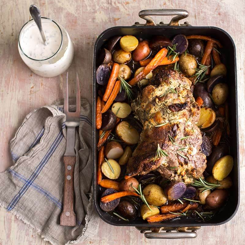 Roasted Leg of Lamb with Yogurt Mint Marinade | Stonyfield