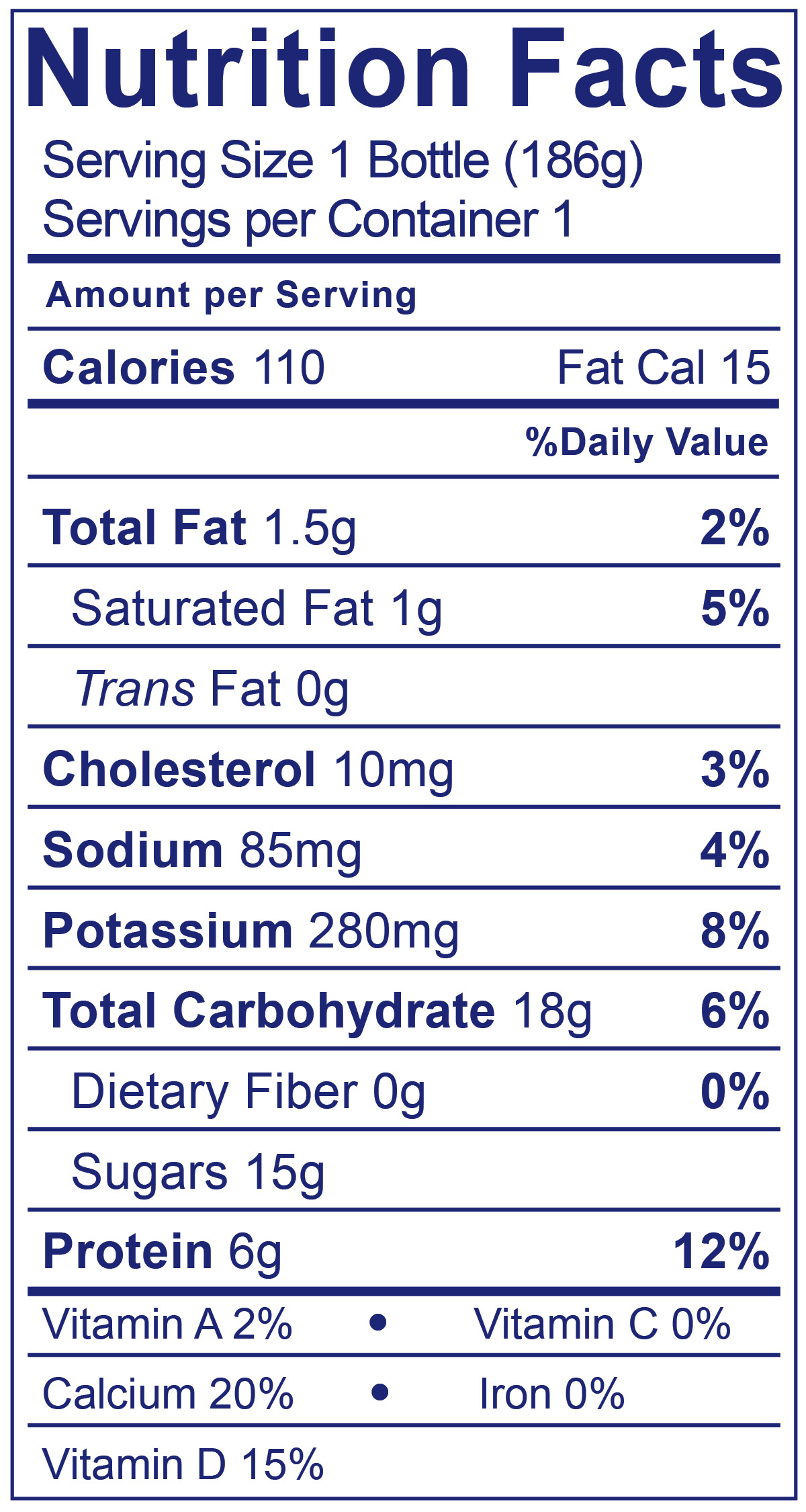 Low Fat Strawberry Banana Smoothie - Nutrition Facts