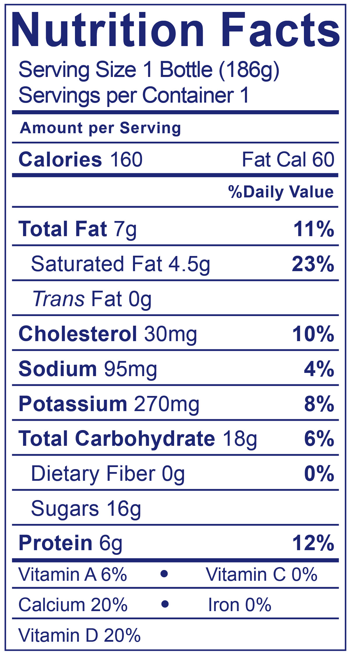 Whole Milk Peach Smoothie - Nutrition Facts