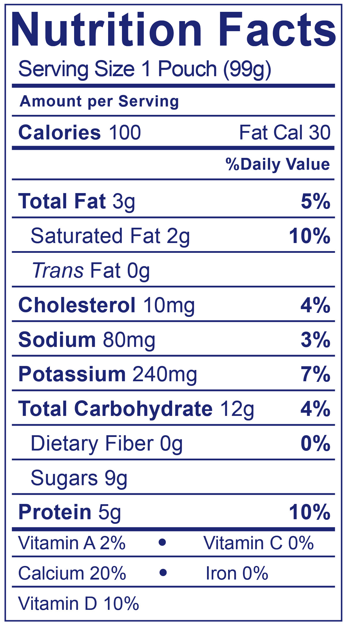 Whole Milk Yogurt Pouch Blueberry - Nutrition Facts
