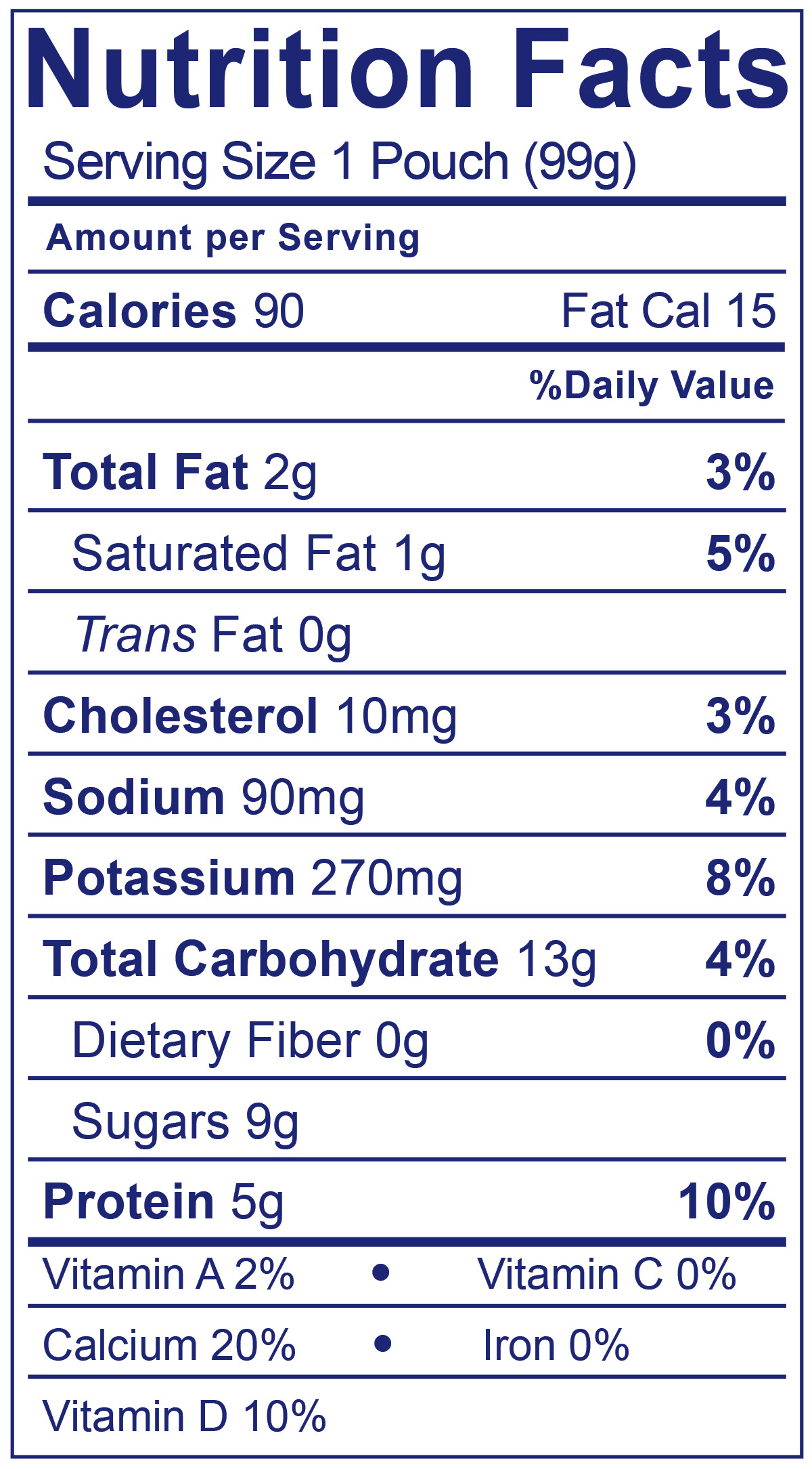 Kids Low Fat Pouches Strawberry - Nutrition Facts