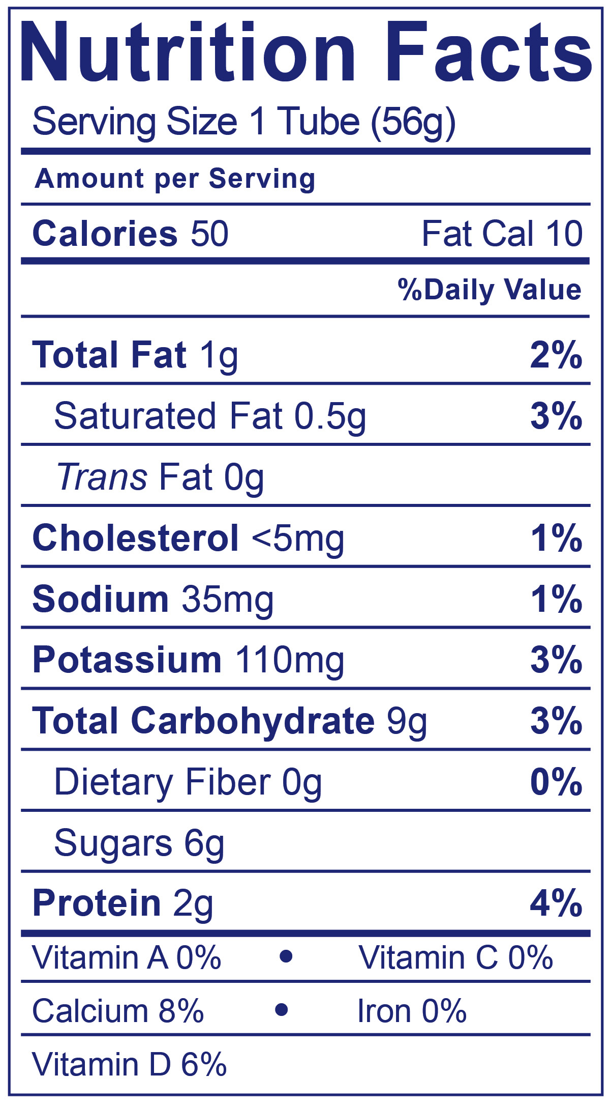 Kids Low Fat Tubes Birthday Cake - Nutrition Facts