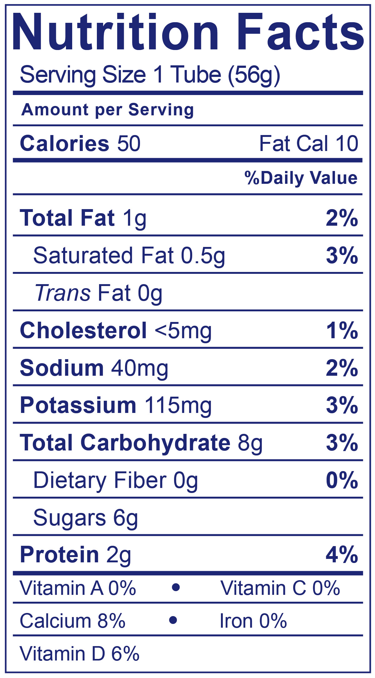 Kids Low Fat Tubes Strawberry - Nutrition Facts