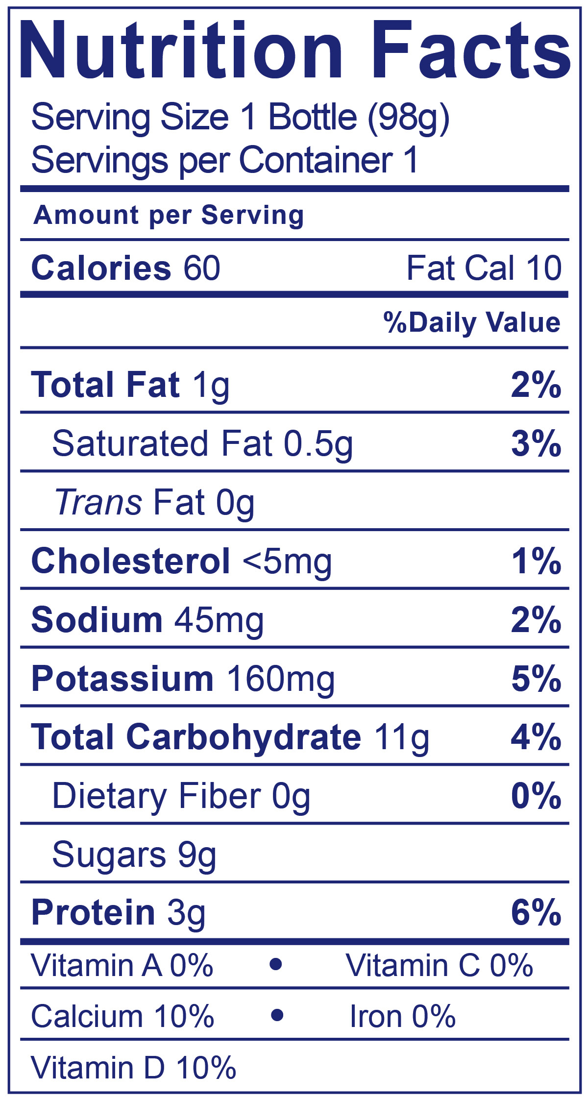 Kids Low Fat Smoothies Strawberry - Nutrition Facts