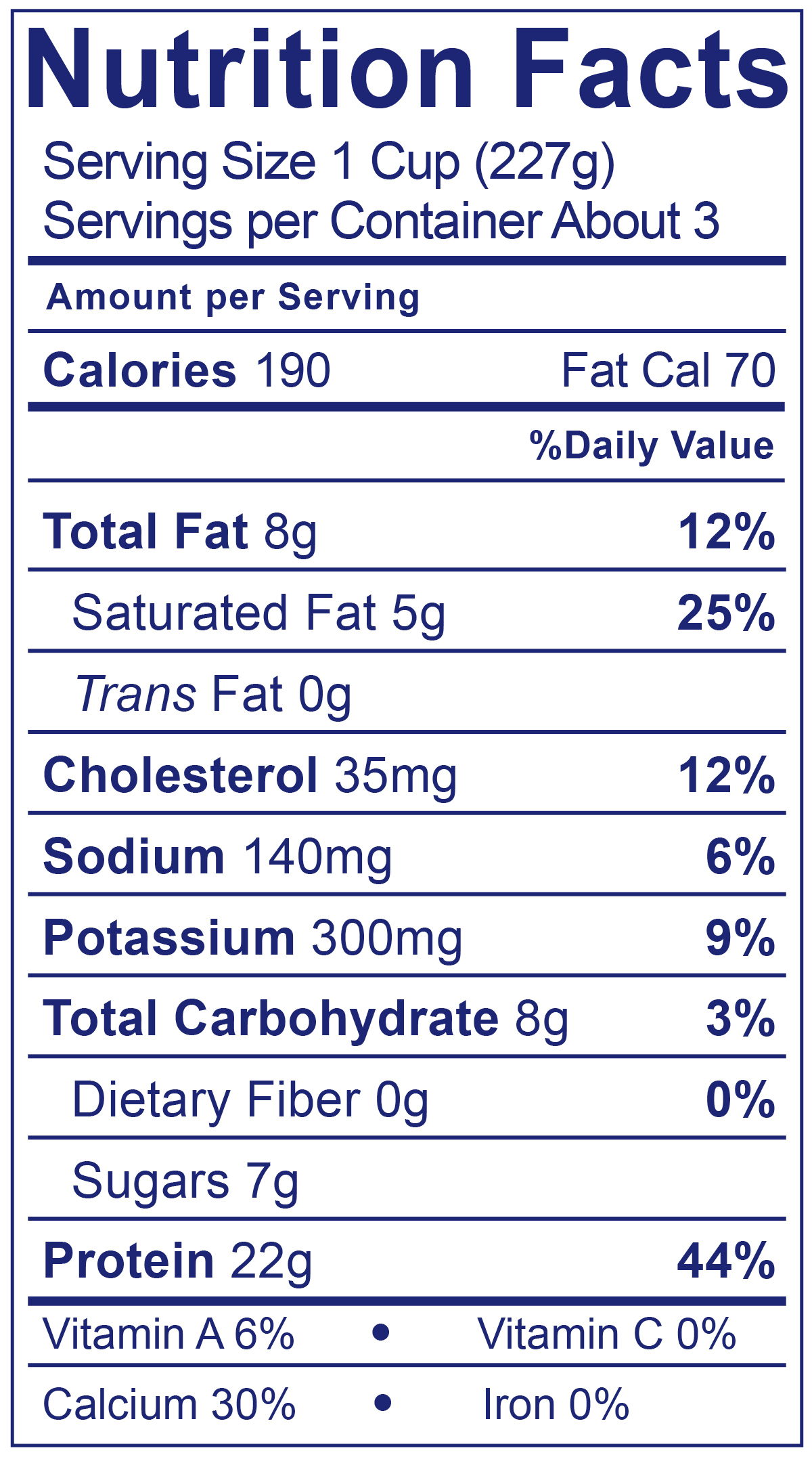 100% Grassfed Greek Plain - Nutrition Facts
