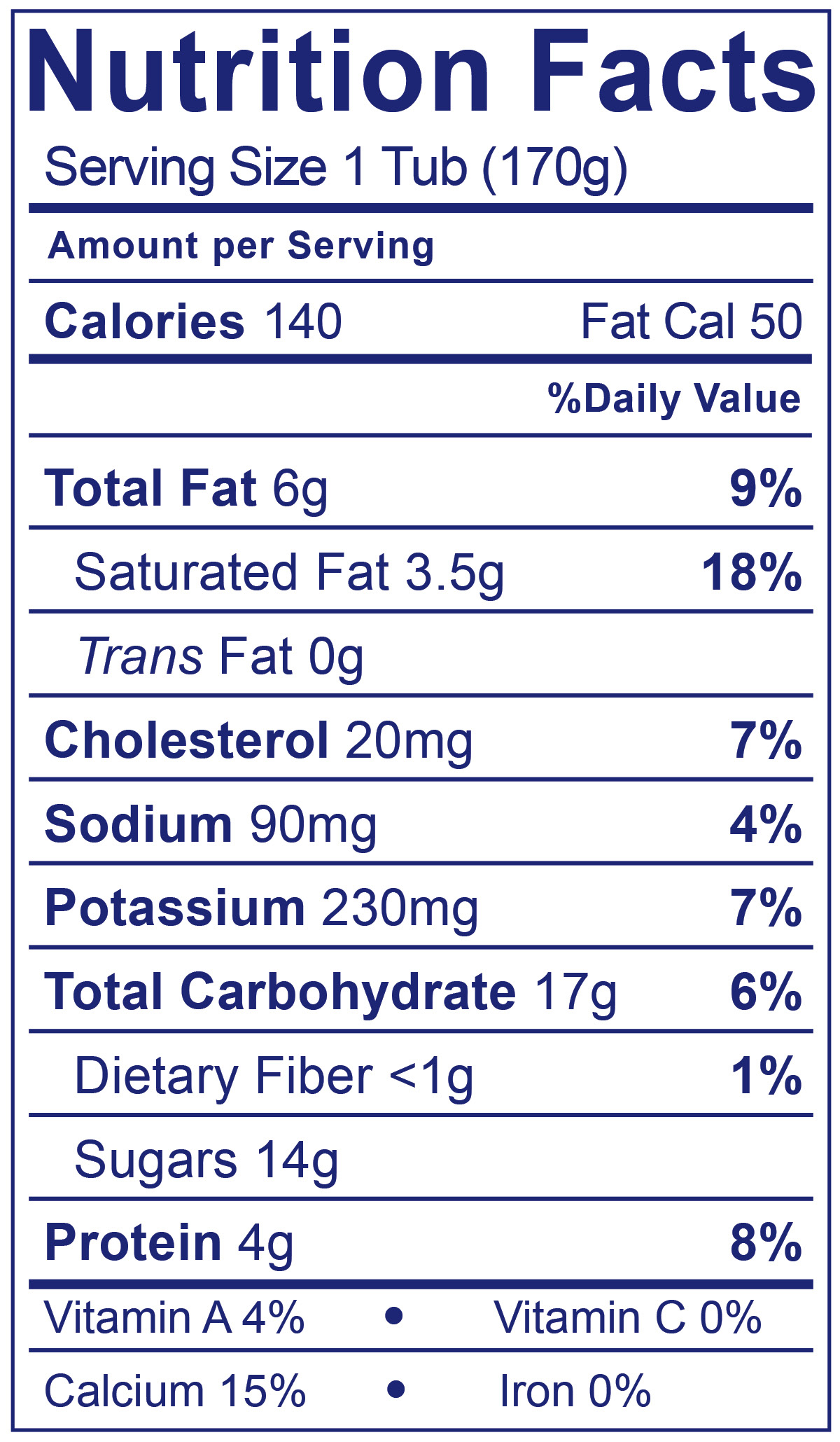 100% Grassfed Blueberry - Nutrition Facts