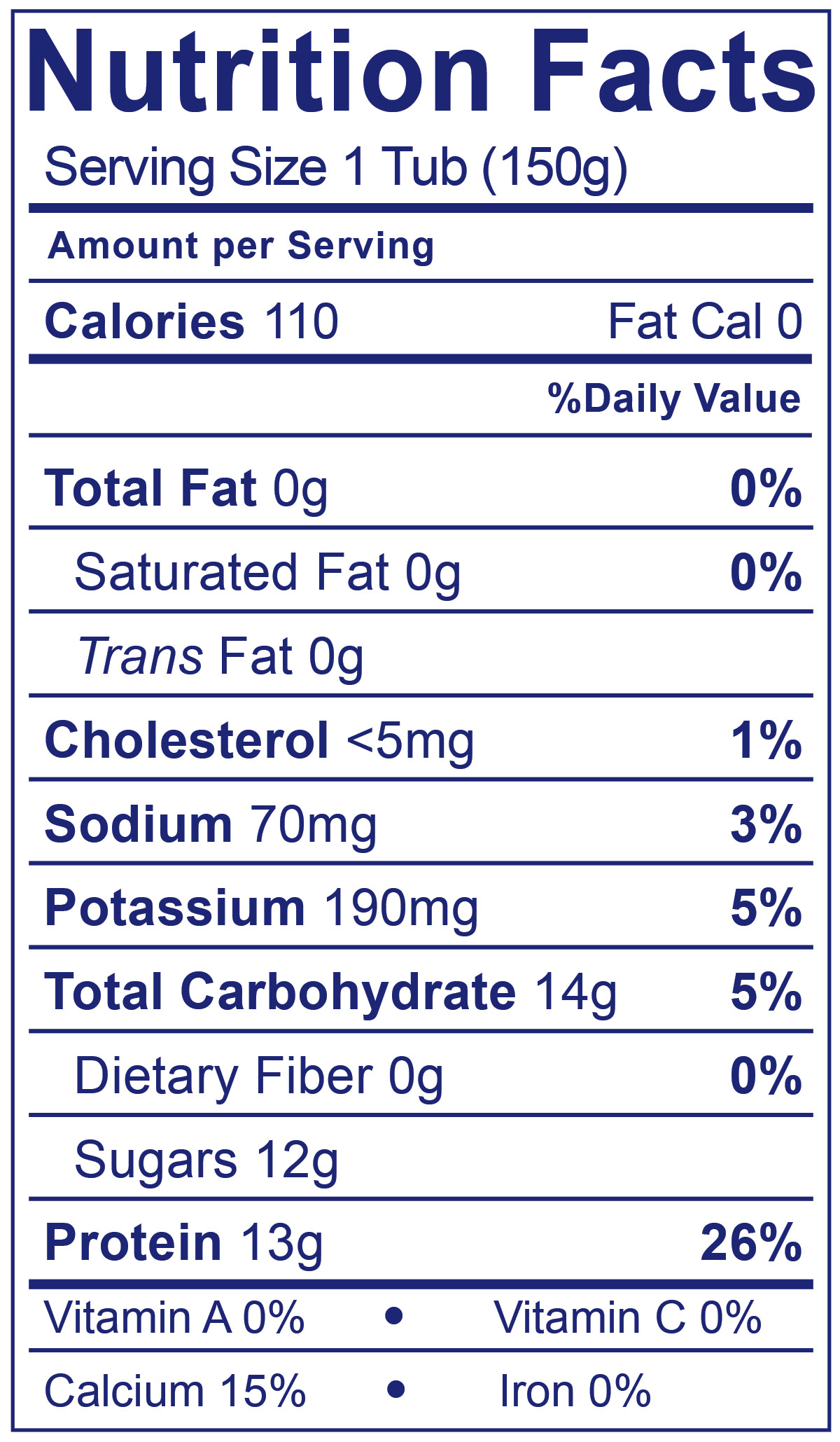 0% Fat Greek Super Fruits - Nutrition Facts