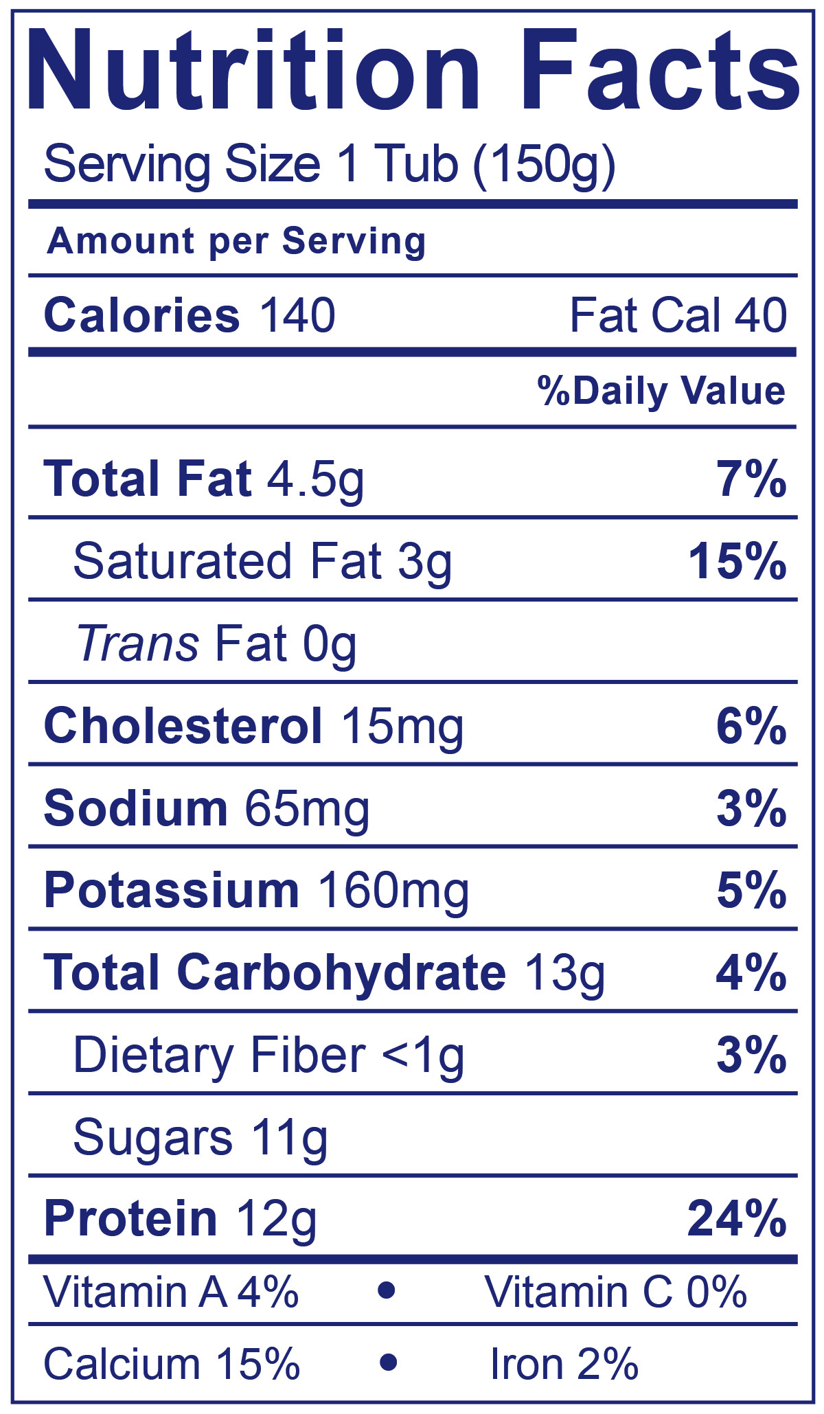 Whole Milk Greek Blueberry - Nutrition Facts