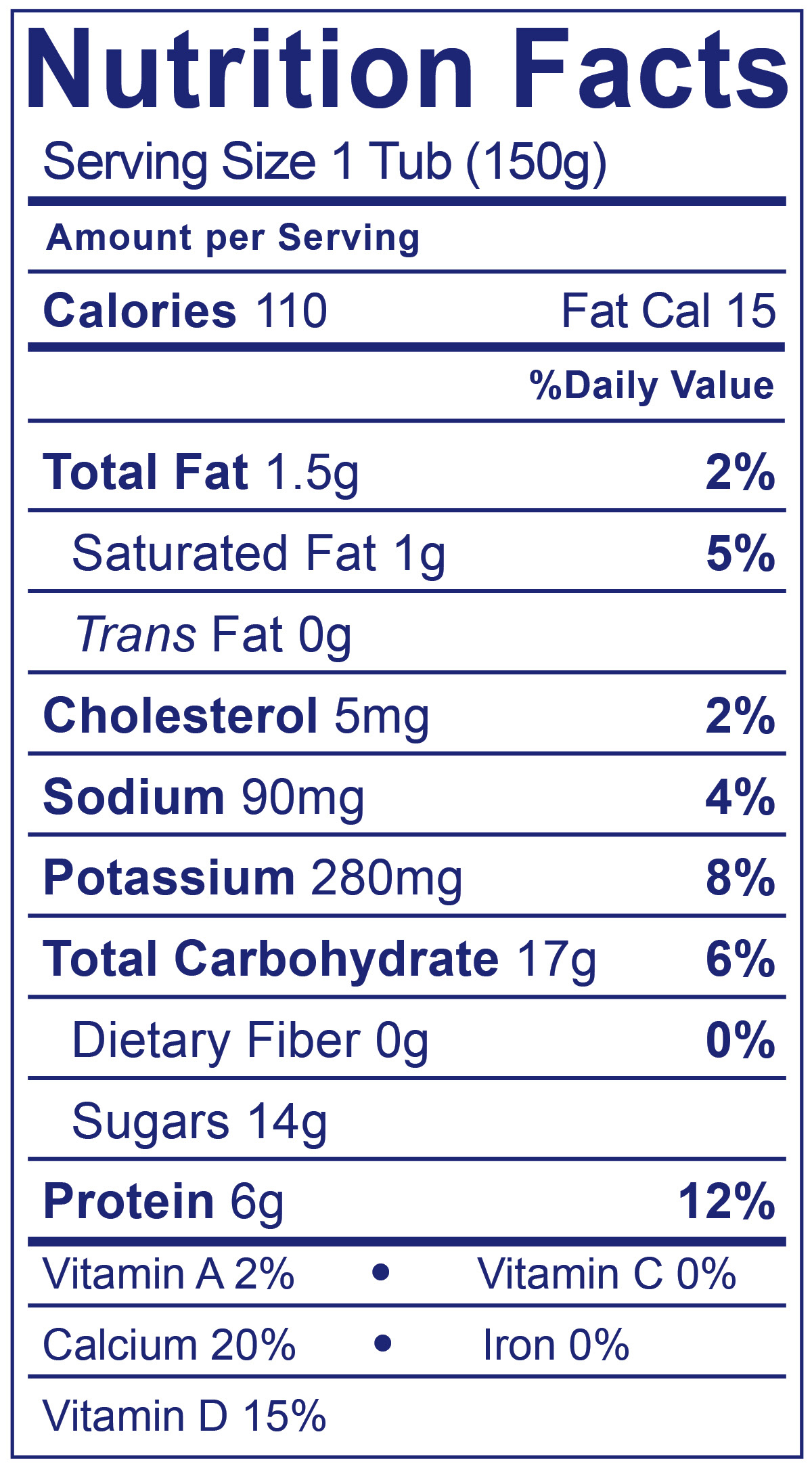 Low Fat Smooth & Creamy Raspberry - Nutrition Facts