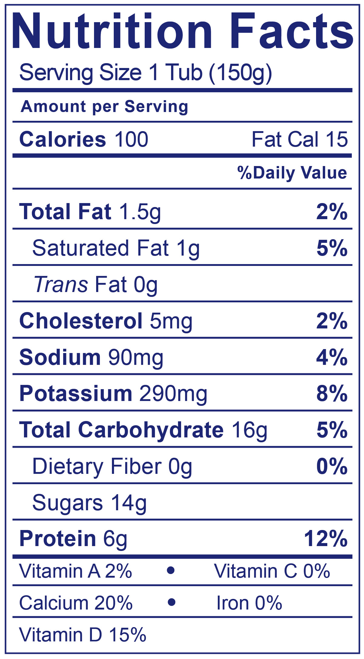 Low Fat Smooth & Creamy Strawberry - Nutrition Facts