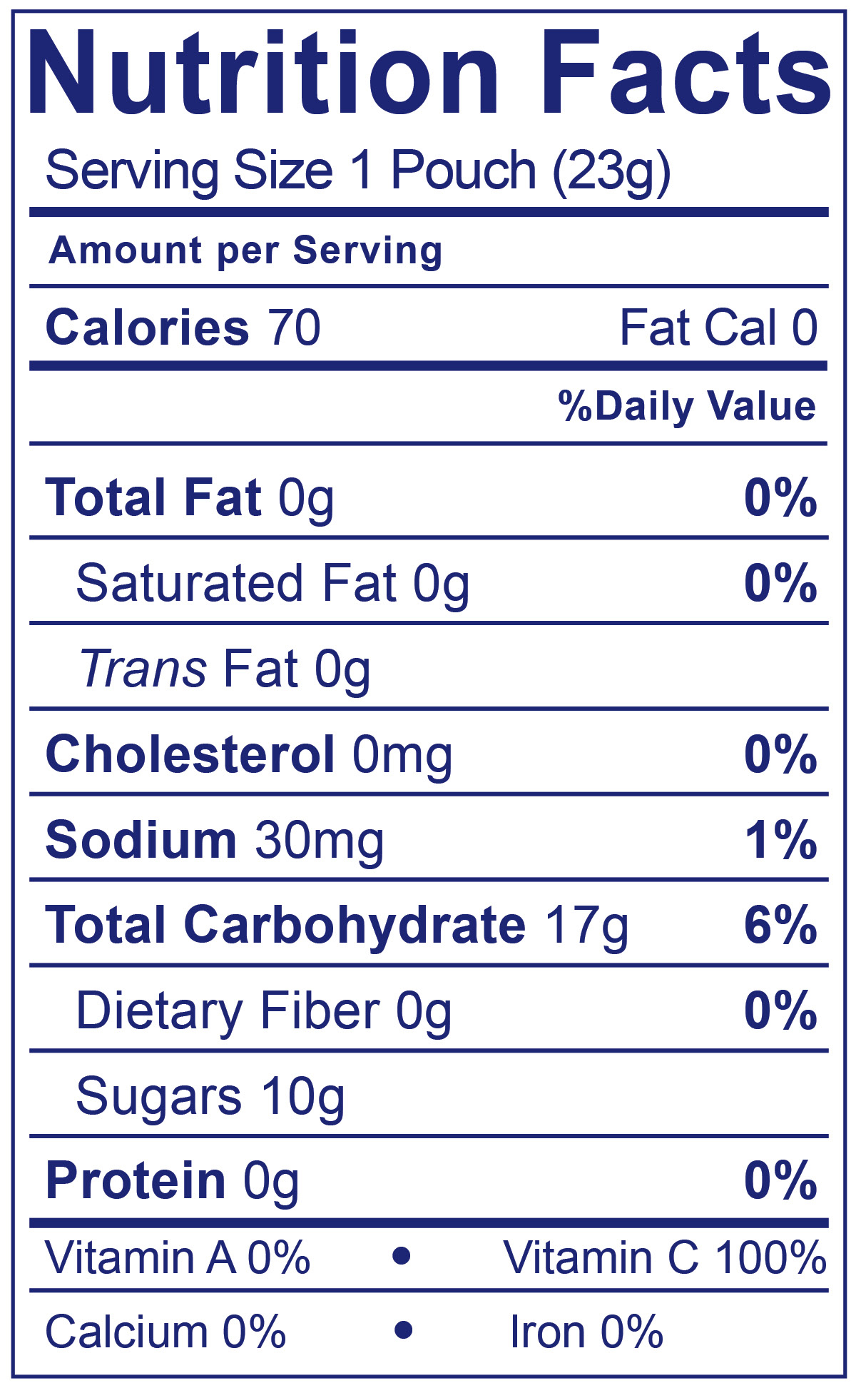 Organic Fruity Cows Strawberry - Nutrition Facts