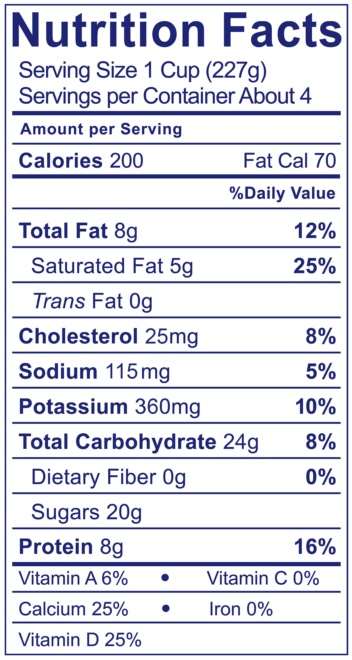 Whole Milk Smooth & Creamy Maple - Nutrition Facts