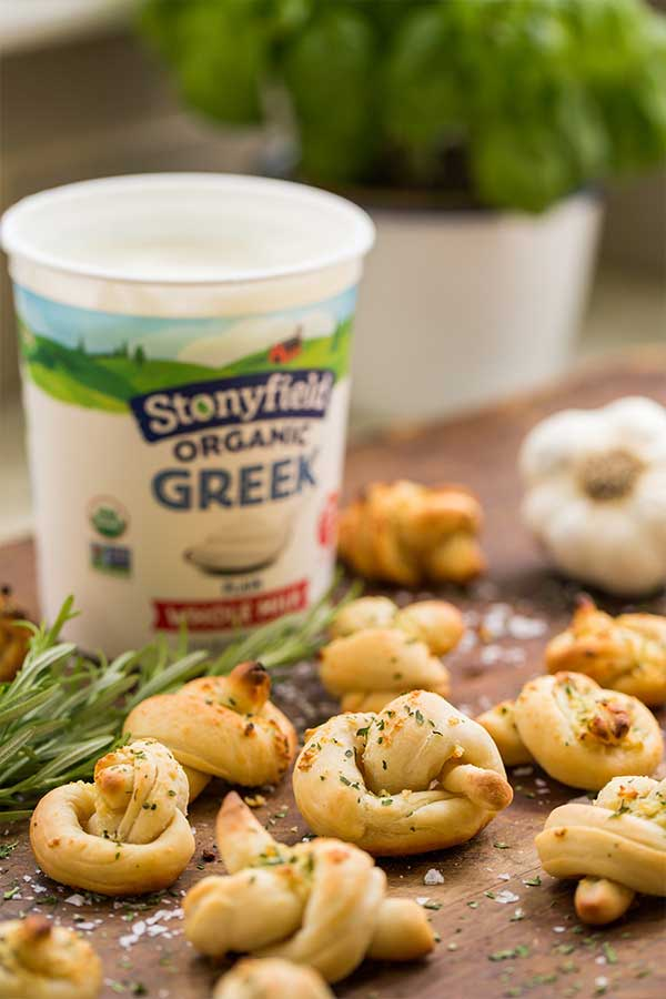 Stonyfield Yogurt Dough Garlic Knots Recipe