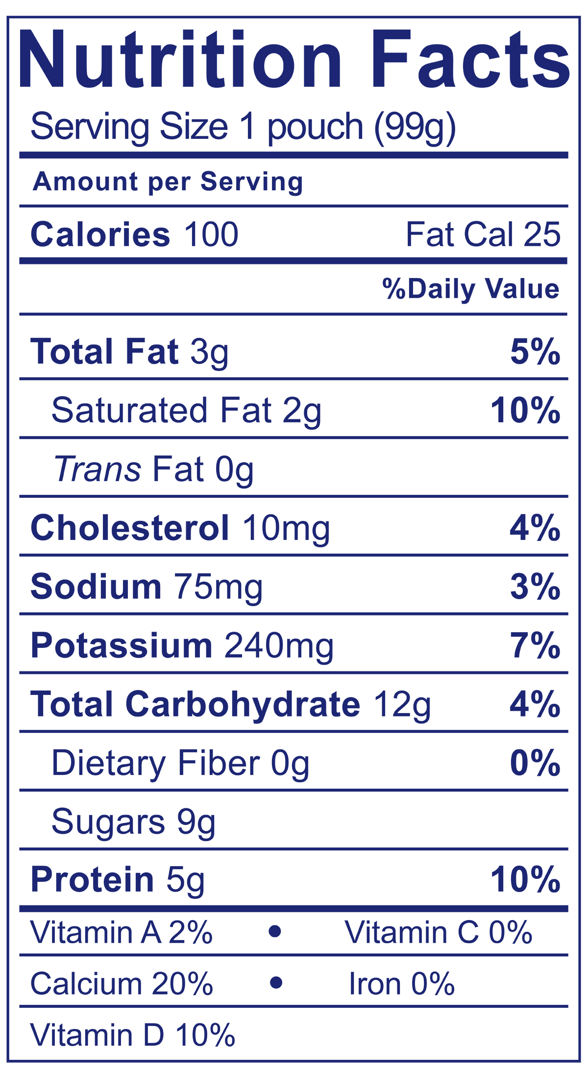 Whole Milk Yogurt Pouch Apple Cinnamon Sweet Potato - Nutrition Facts