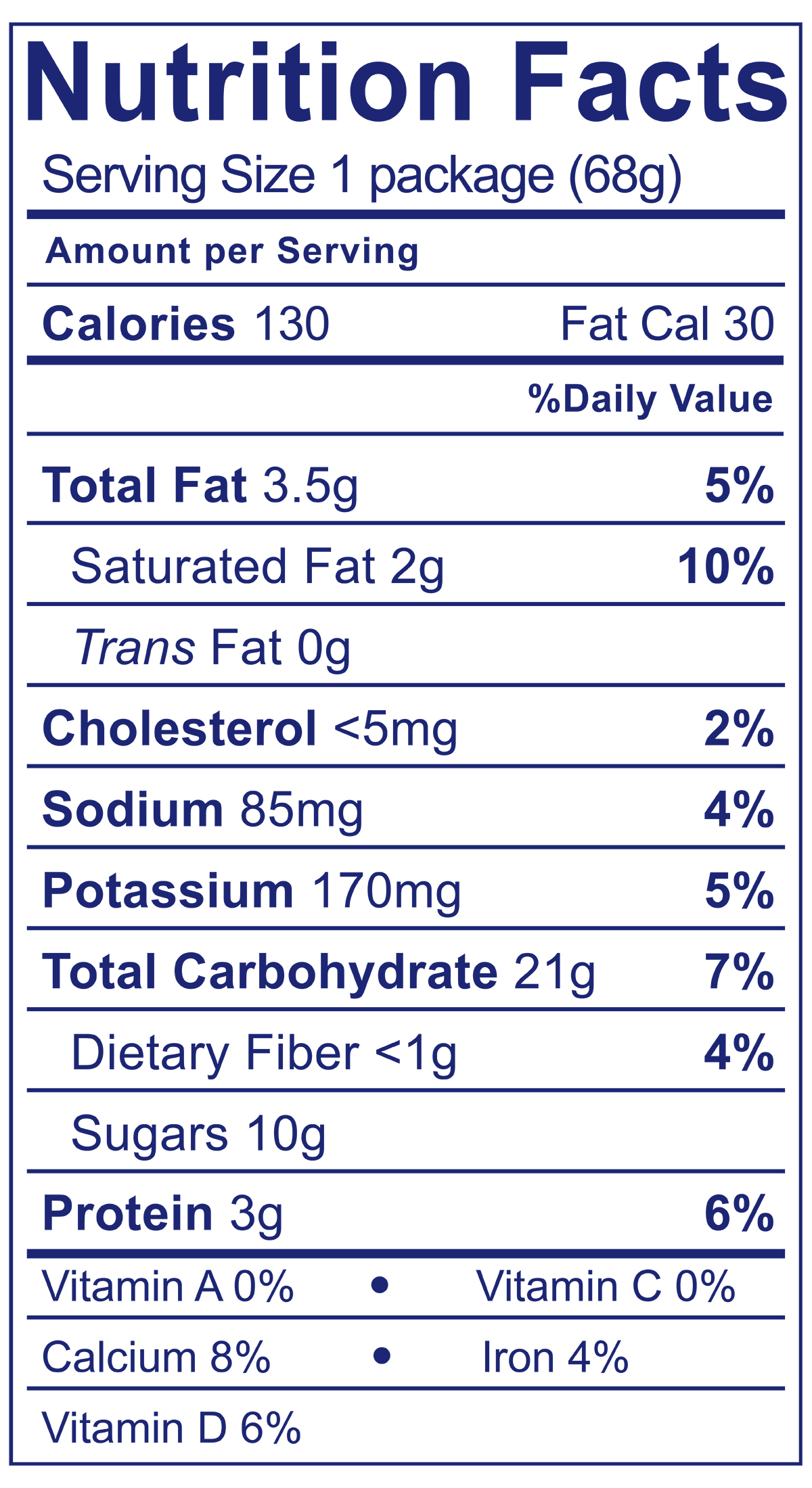 Vanilla & Chocolate Cookie Snack Pack - Nutrition Facts